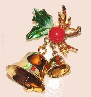 Vintage Christmas Holiday Pin Brooch & Earrings Set Holly & Bells