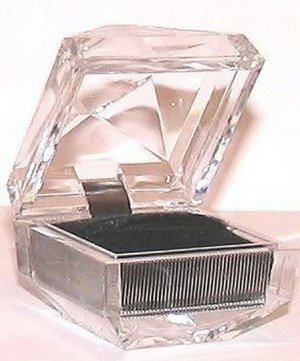 Clear Lucite or Acrylic Faceted Crystal Ring Gift Box New