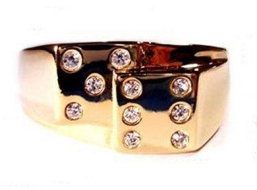 Gold EP Dice Ring Size 9 Man Woman Casino Gambler