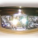 Mens Womens Ring with Trio of CZs set in Gold Plate Size 11 New