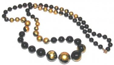 Vintage Black Lacquer Bead Necklace HP Gold Color Flowers