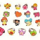 Lot of 25 Cartoon Rings Asst. Mice, Flowers, Kids, Animals, Stars, More