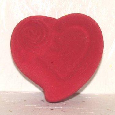 Heart Gift Ring Box Red Rose Heart Satin & Faux Velvet New