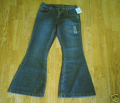 SILVER FADED LEG BIG FLARE JEANS-SIZE 27 X 31-NWT