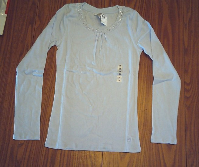 LIMITED TOO JEANS GIRLS BLUE SHIRT TOP-SIZE 14-NWT
