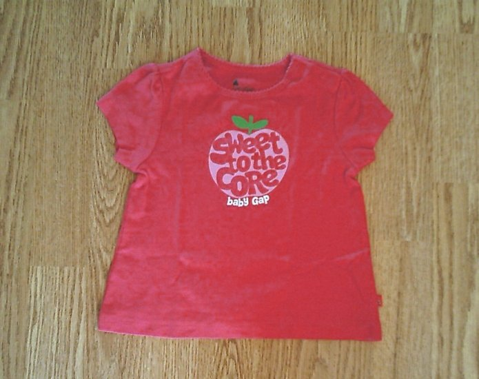 BABY GAP JEANS GIRLS PINK APPLE SHIRT TOP-12-18 M-NWT