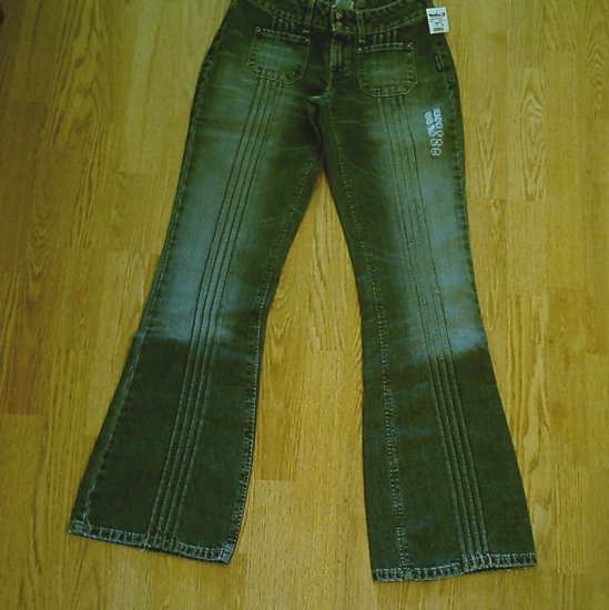 SILVER LOW RISE FLARE DENIM JEANS-SIZE 27 x 34-NWT