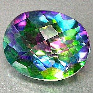 30 Carat Green Mystic Fire Topaz Oval cut gem 25x18mm