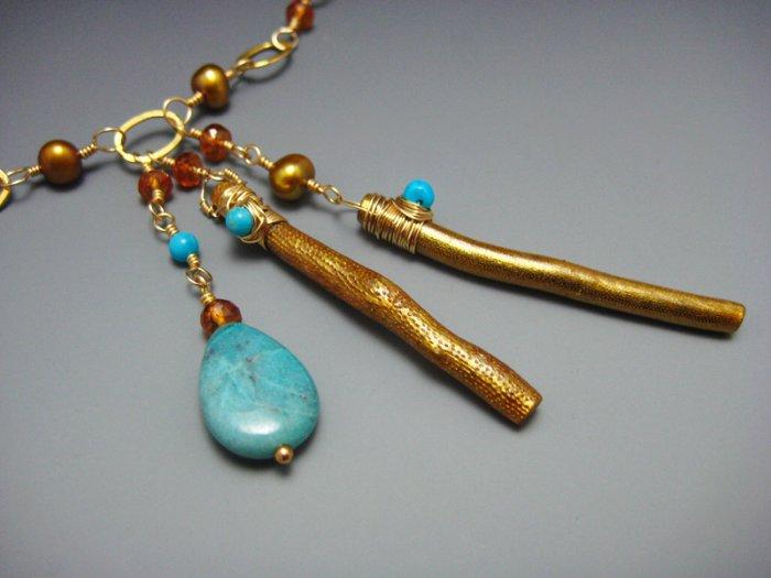 Blue Green Chrysocolla w Hessonite Garnet and Freshwater pearls necklace Artisan handmade jewelry