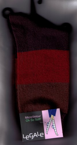 LeGale Micro Velour Sock - Wide Stripe-Reds-Brown