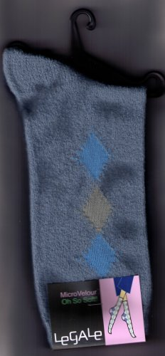 LeGale  Micro Fiber Velour Sock - 3 Diamond-Slate  Blue