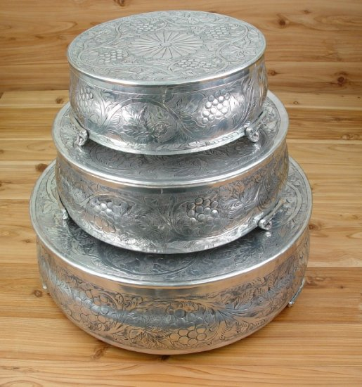 used wedding cake stand genuine pewter 3 wedding plateau cake stand set in 21509