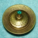 Tiny Hammered Brass Jeweled Lidded Holder