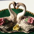 Vintage Capodimonte Covered Dish w/Swans