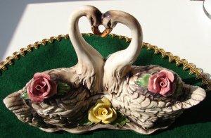 Vintage Capodimonte Covered Dish w/Swans