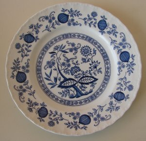 Blue Heritage Plate Hand Engraved England