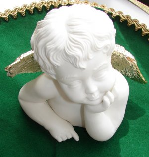 Bisque Angel with Gold Wings