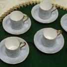 Royal Albert -Gossamer Demitasse Cups/Saucers & 1 Snack Plate, Blue