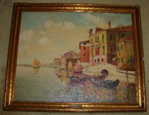 M. Vitullo Oil on Canvas Cityscape Painting - Canal Scene