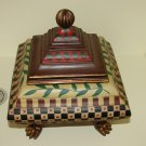 Asian style Footed Wood Lidded Jewelry Casket