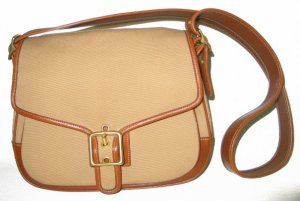 COACH British Tan Leather Canvas Flap Bag Purse~9122~NEW!