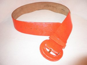 DONNA KARAN Vintage Orange Wide Lizard Belt NEW! L
