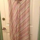 LANE BRYANT 100% Linen Striped Long Bias Skirt 14/16 NWOT