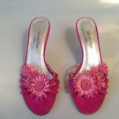 ISABELLA FIORE Pink Suede Straw Flowers Strappy Sandal Heel 7.5B NEW!