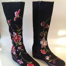 AUTH Beverly Feldman Black Suede Embroidered High Boots New in Box!