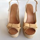 AUTH RARE  $275 Kate Spade LEXIE Biscuit Patent Espadrille Sandal Wedge 7.5 NEW!