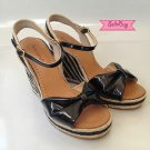 Kate Spade Candice Black Patent Espadrilles Wedge Sandal Shoes 7.5 M