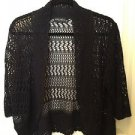 Yarn Art Black Airy Crochet Short Bolero Cardigan L