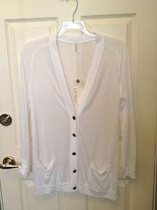 Lanston Sheer White Long Rayon Knit Boyfriend Cardigan L NWT!