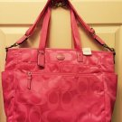 Coach Hot Pink Signature Nylon Baby Bag Large Carryall Tote F77577 NWT