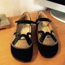 Naot Black Tattoo Black Patent Suede Linen Maryjane Shoes 38 7  7.5 NIB