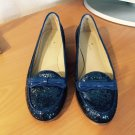 Kate Spade Blue Cora Glitter Patent Loafer Shoes With Bow NIB 7.5 M
