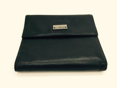 Vintage Perlina Black Lambskin Leather Trifold Wallet