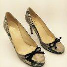 Kate Spade Kendall Snake Print Chocolate Suede Bow Pump Heels 7 M NEW!