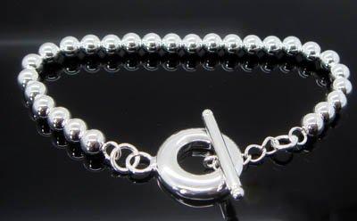 925 STERLING SILVER 6mm BEAD Bracelet#155