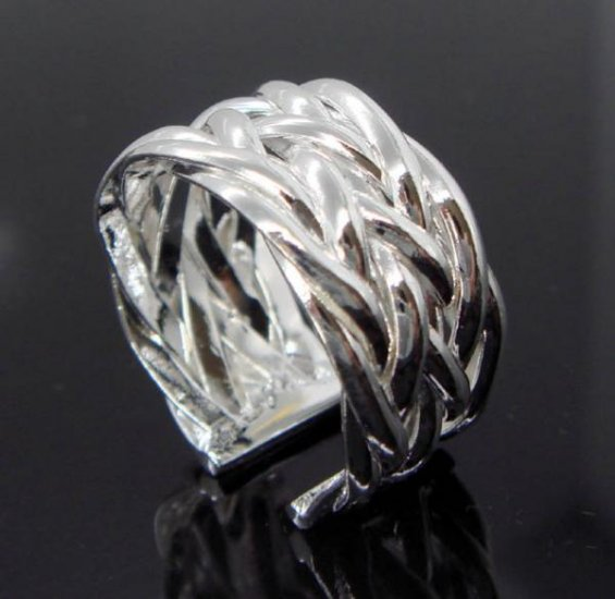 FREE P&P! 925 STERLING SILVER intersectant RING #55