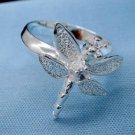 FREE P&P! 925 STERLING SILVER DRAGONFLY 8 Q RING #61
