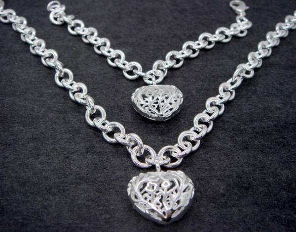 FREE P&P!925 SILVER HEART BRACELET & NECKLACE #S50