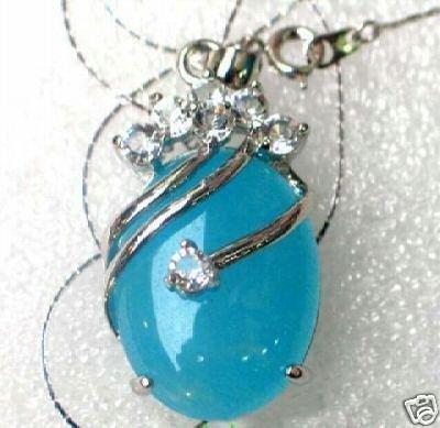 BLUE JADE WHITE ZIRCON SILVER PENDANT NECKLACE