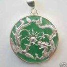 Pure Green jade silver dragon phoenix pendant necklace