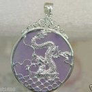 FASHION PINK JADE DRAGON SILVER PENDANT & NECKLACE