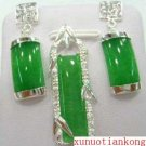 Nice green jade carved earrings pendant set