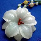Natural white jade carving flower necklace pendant