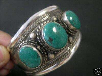 beautiful tibet silver three turquoise beads bracelet