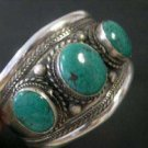 beautiful tibet silver three turquoise beads bracelet