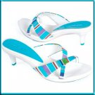 NINE WEST White Blue Slide Sandal Mules Pumps Sz 8.5